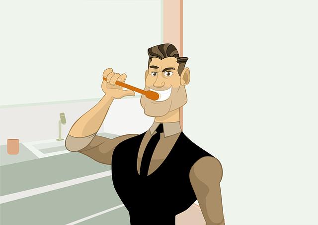 muž čistící si zuby
