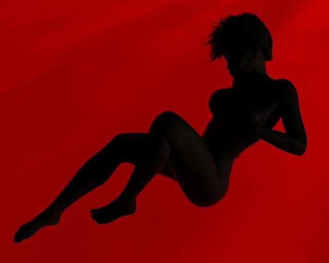 silueta v červeni